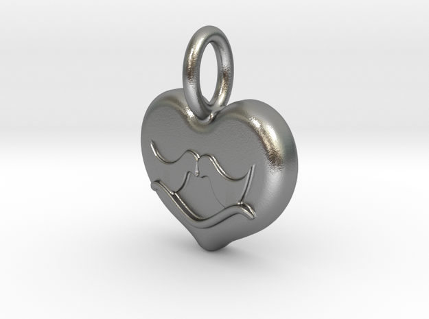 Lovebirds in Natural Silver