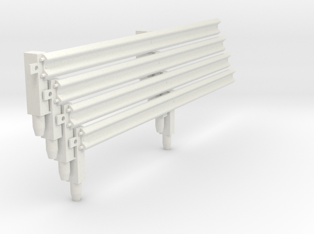 Armco Rail On 2 Wooden Posts, 4pcs in White Natural Versatile Plastic