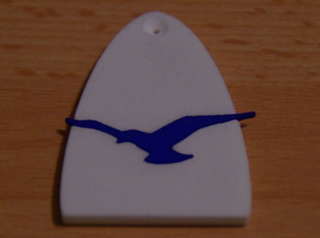 Truss Rod Cover for PRS Guitar - Seagull Insert 3d printed Cover in polished white and seagull in polished blue
