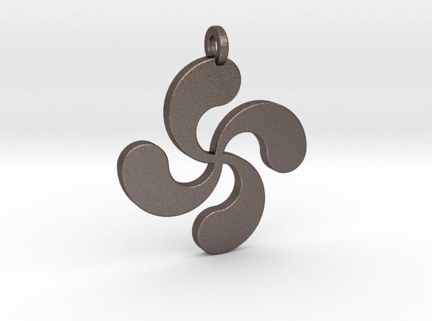 Lauburu pendant in Polished Bronzed Silver Steel