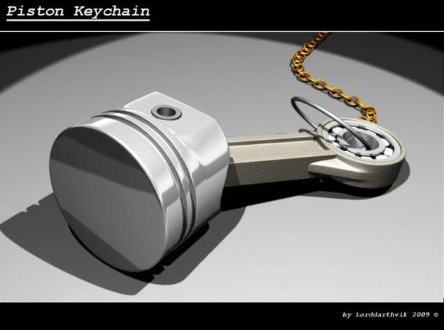 Piston Keychain 4cm 3d printed Render of the model in 3dsmax. The piston rod is NOT rough on the model, only on the render!