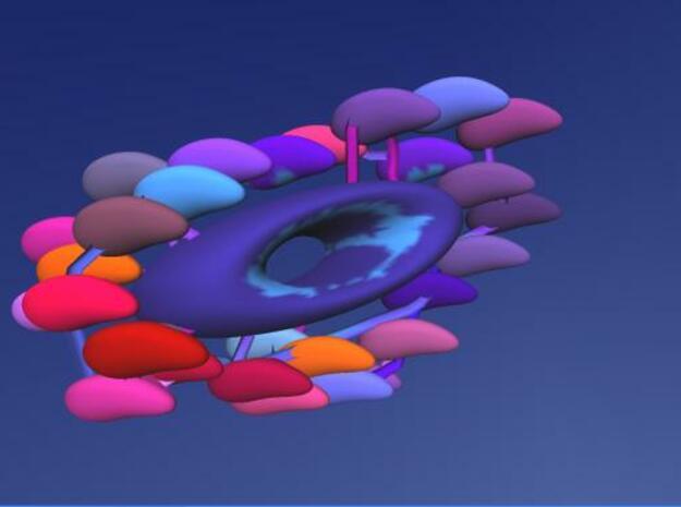 A shoal around a bead 3d printed Description: Idea for a bead to thread on a cord. Design using Anarkik3D's haptic application Cloud9