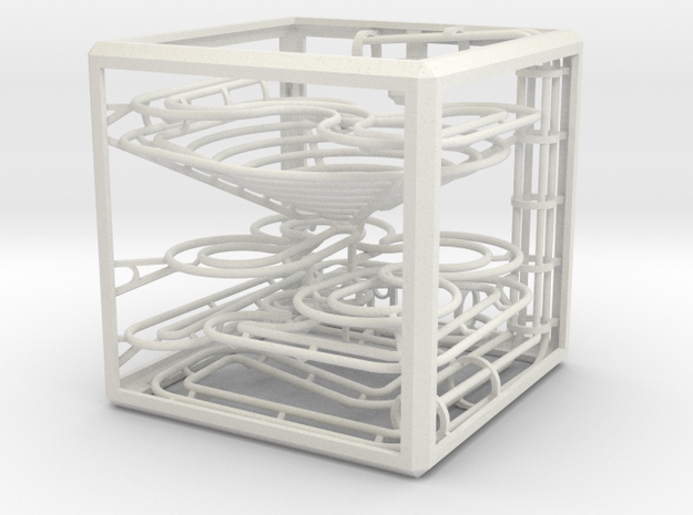"""The Cube"" marble run in White Natural Versatile Plastic"
