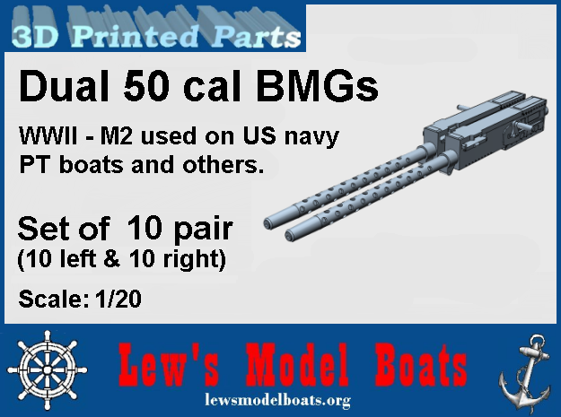 PT Boat dual 50 cal BMG - 1/20 scale in Smooth Fine Detail Plastic: 1:20