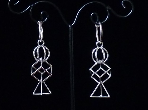 3 Parts Interlocking Swing Earrings in Polished Silver (Interlocking Parts)