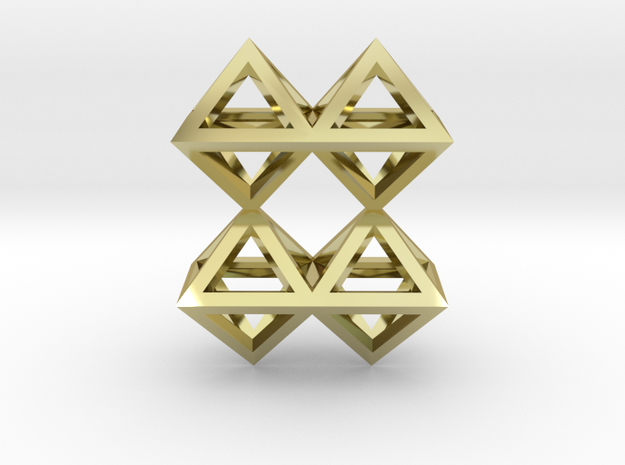 8 Pendant. Perfect Pyramid Structure. in 18k Gold Plated Brass
