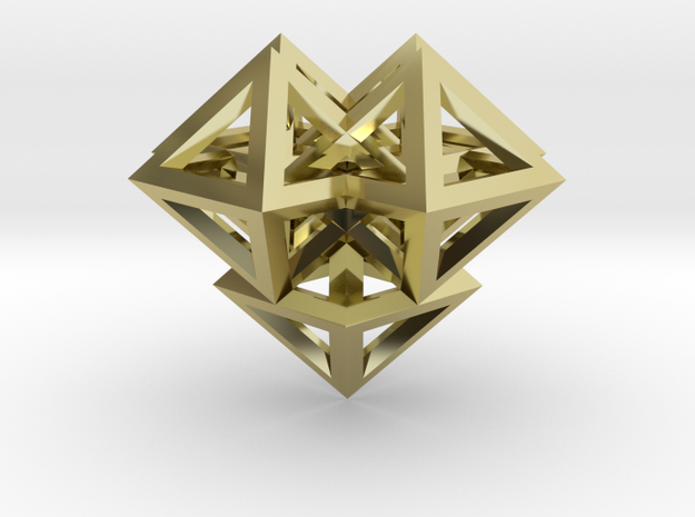 V8 Pendant. Perfect Pyramid Structure. in 18k Gold Plated Brass