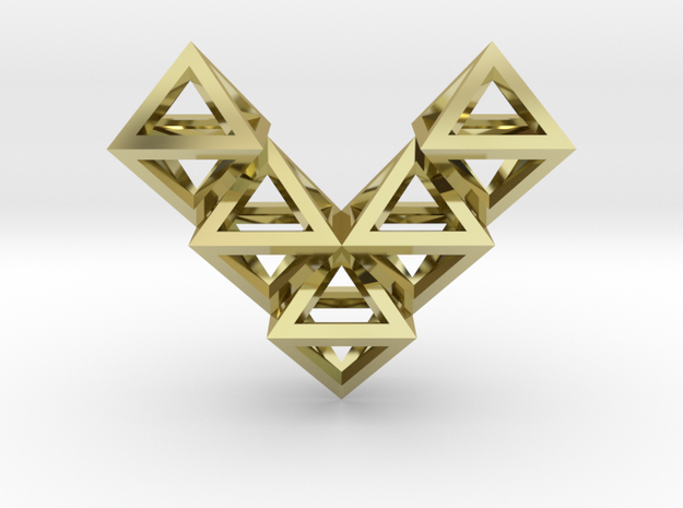 V10 Pendant. Perfect Pyramid Structure. in 18k Gold Plated Brass