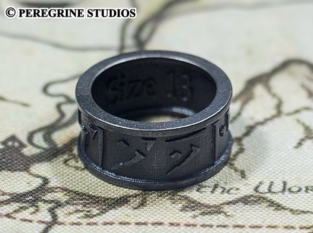 Ring - Forever (Size 13) 3d printed Matte Black Steel