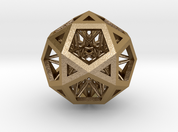 "Super IcosiDodecahedron 1.5"" in Polished Gold Steel"