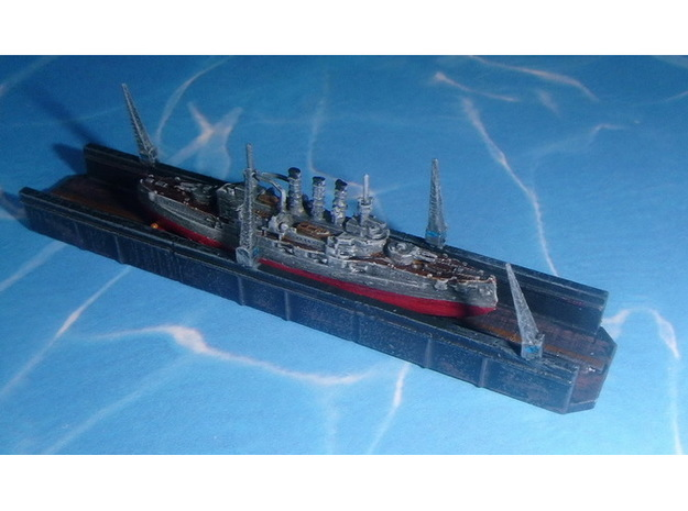 Floating Drydock old Style 1/1800 3d printed 1/2400 Scale - Ship not included