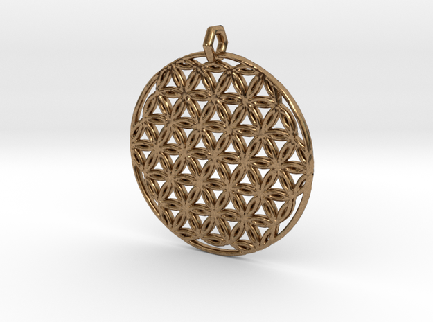 Flower Of Life Pendant (1 Loop) in Natural Brass