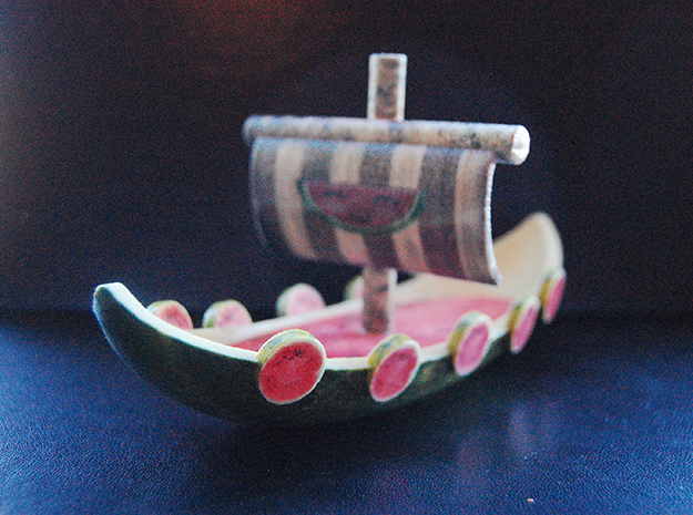 Melon Vikingship in Glossy Full Color Sandstone