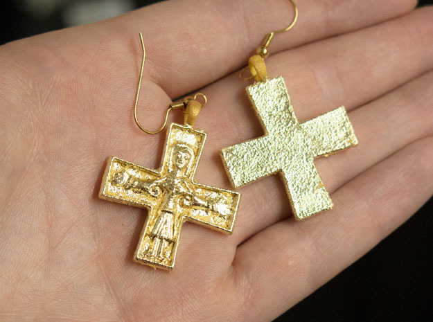 Virgin Mary Cross pair in Yellow Strong & Flexible Polished