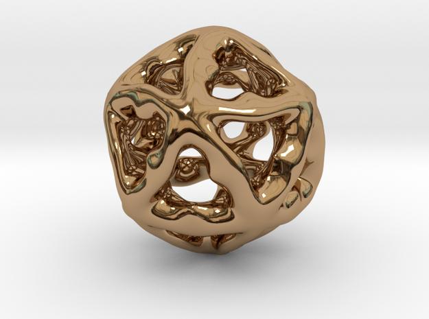 Math Art - Alien Ball Pendant in Polished Brass