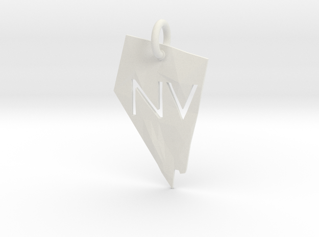 Nevada State Pendant in White Strong & Flexible