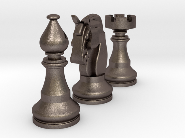 Knight, Rook & Bishop in Polished Bronzed Silver Steel