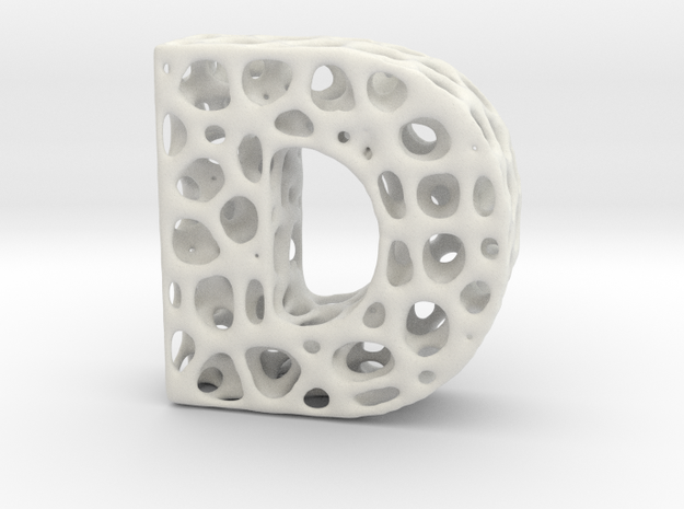 Voronoi Letter ( alphabet ) D in White Natural Versatile Plastic