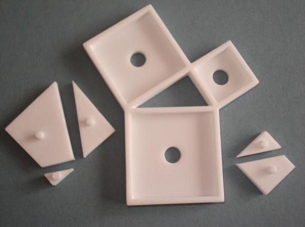 Pythagoras puzzle (small) in White Strong & Flexible