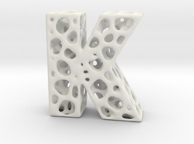 Voronoi Letter ( alphabet ) K in White Strong & Flexible