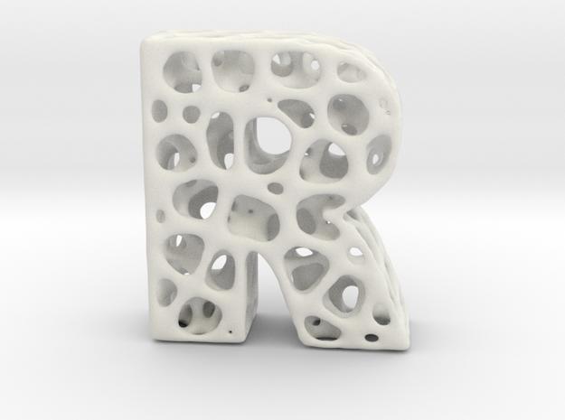 Voronoi Letter ( alphabet ) R in White Natural Versatile Plastic