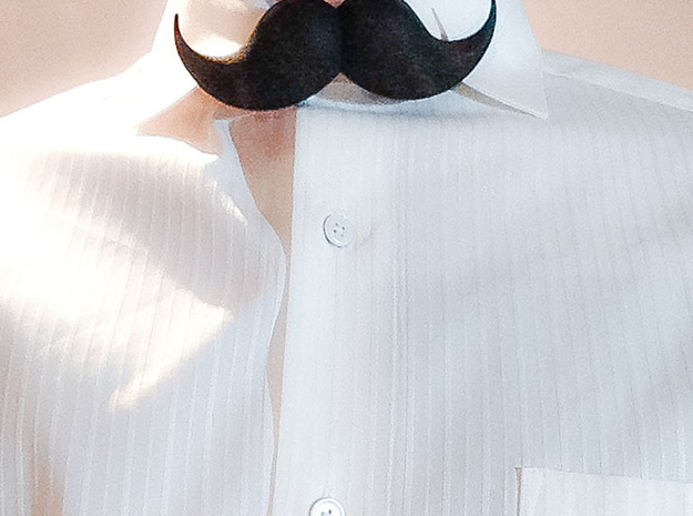 Bow_tie_mustache in Black Natural Versatile Plastic