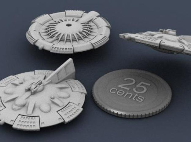 Martian Zhukov class Light Cruiser 3d printed 3D render of the ship, showing top, bottom and side views, with a fake quarter for scale reference.