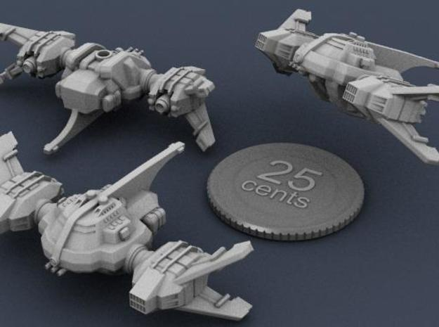 Ryuushi Dominator 3d printed 3d render of the ship, showing top, bottom and side views, with a fake quarter for scale.