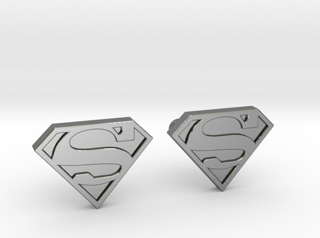 Superman Cufflinks in Polished Silver
