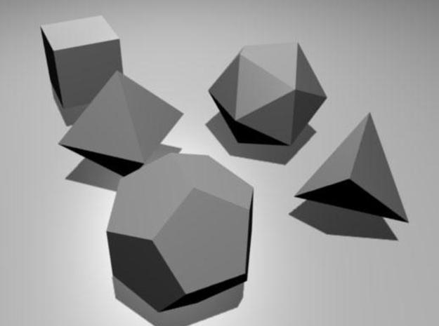 Platonic Solids 3d printed Rendered