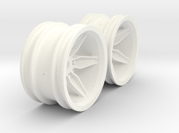 Wheels - M-Chassis - Coffin Spokes - 6mm Offset in White Strong & Flexible Polished