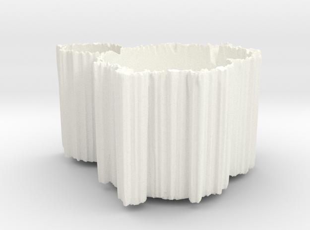 Mandelbrot Vase 1 with Base in White Processed Versatile Plastic