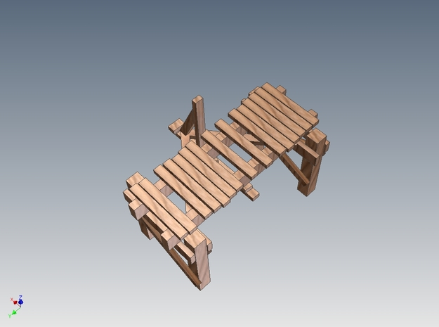 Picturesque Wood Bridge 3d printed