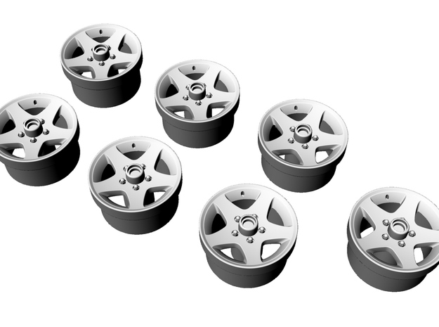 1/87 HiSpec Trailer Rims for Myco yacht trailer in Smooth Fine Detail Plastic