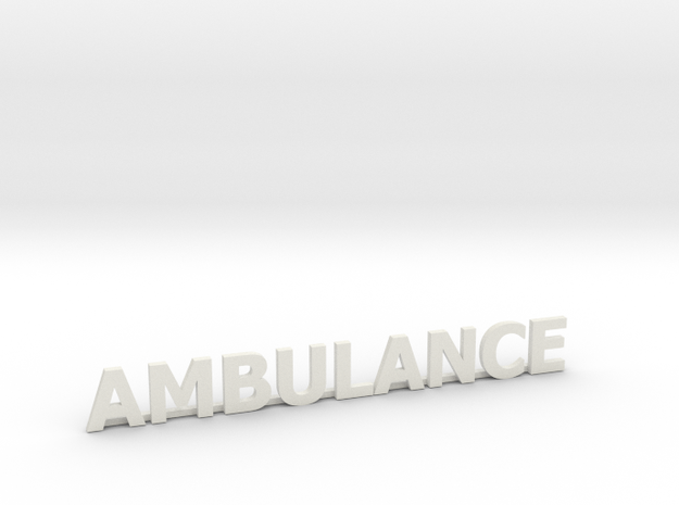 Ambulance letters met steun 86 mm in White Strong & Flexible