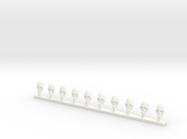Skull Fronts 28 mm in White Processed Versatile Plastic