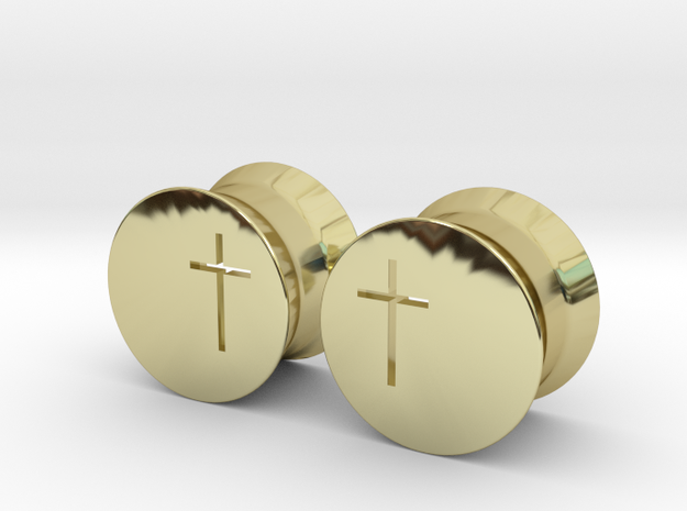 Crucifix Plugs in 18k Gold Plated