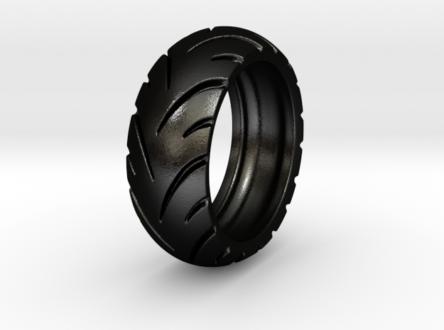 Ray Zing - Tire Ring in Matte Black Steel: 6 / 51.5