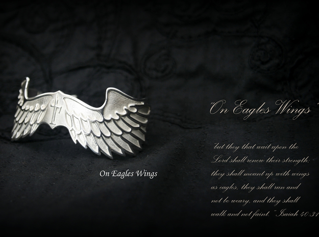 """""""On Eagles Wings"""" by Constanz in Polished Silver: Small"""
