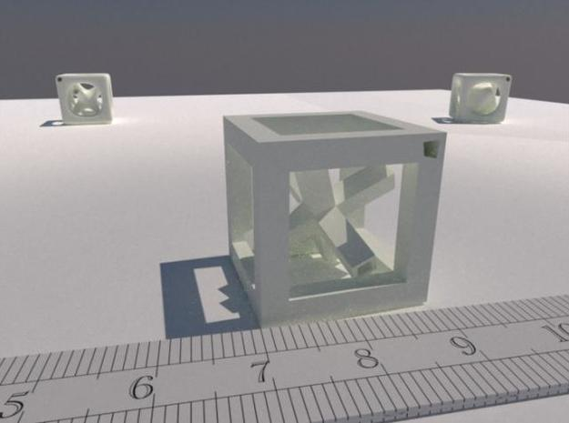 Inséparable N°2 3d printed A LuxRender rendering. The ruler is graduated in cm.