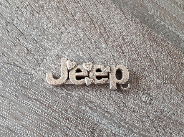 Jeep car keychain in Polished Bronzed Silver Steel