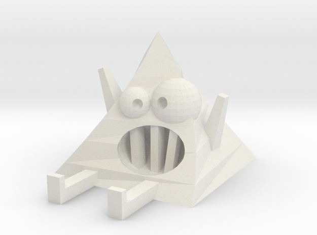 Crazy Pyramid | Monster Toy in White Strong & Flexible