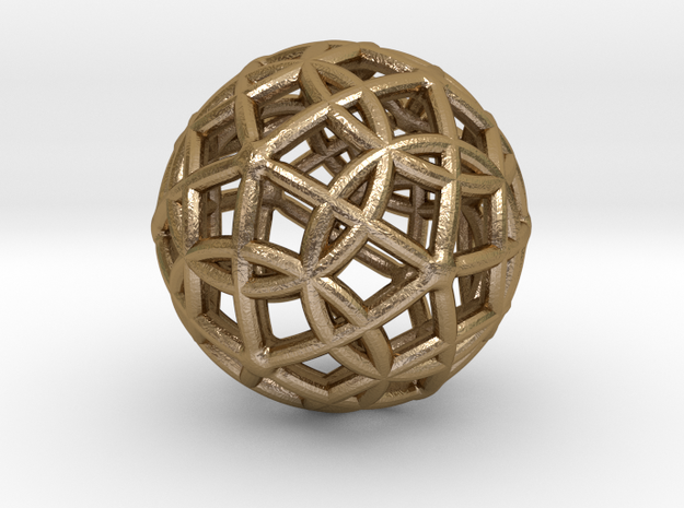 "Spherical Icosahedron with Dodecasphere 1"" in Polished Gold Steel"
