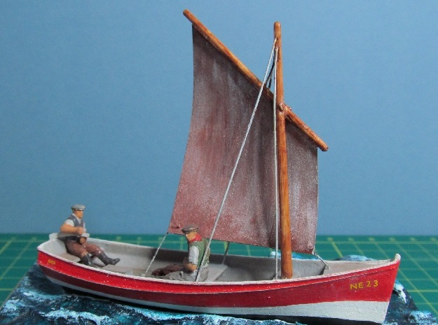 4mm Scale Fishing boat in White Strong & Flexible Polished: Small