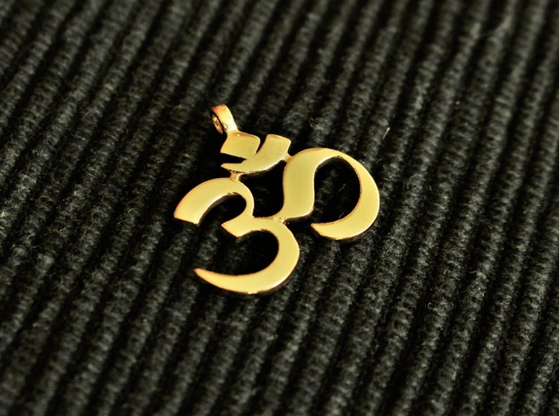 Om (aum) Pendant  in Polished Bronze