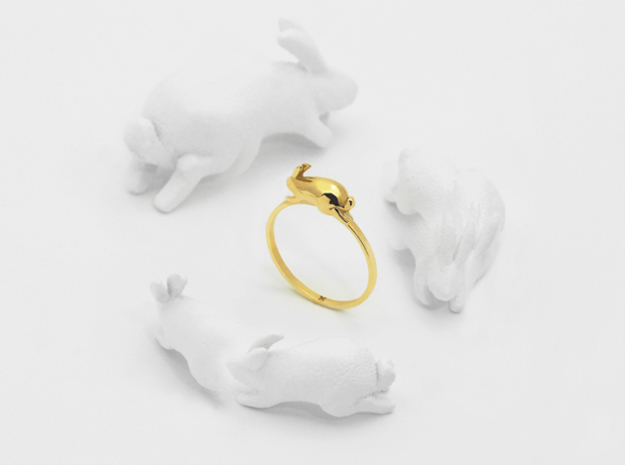 Stacking Rabbit (Playful) in Polished Brass: 6 / 51.5