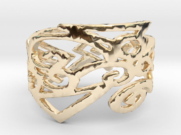 Charm Ring Design Ring Size 7 in 14k Gold Plated Brass