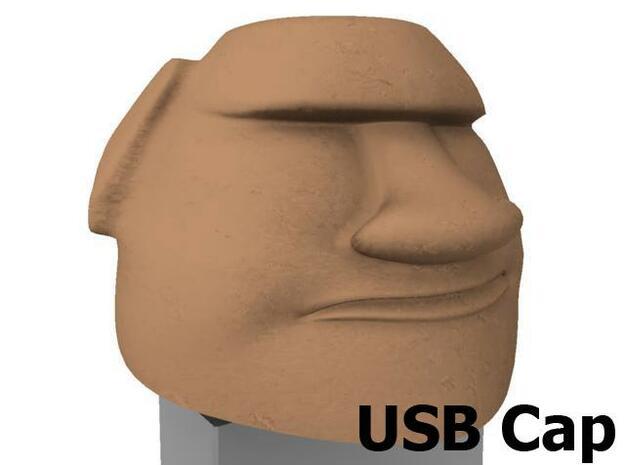 Moai Head USB cap 3d printed Front