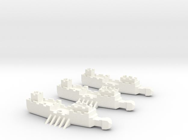 Fantasy Fleet Frigates in White Processed Versatile Plastic