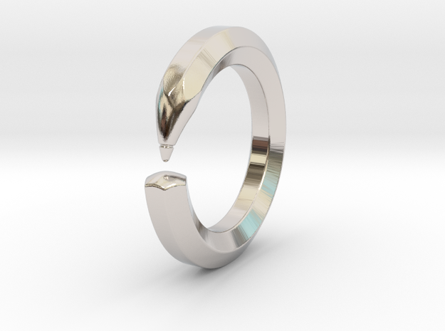 Herbert M. - Pencil Ring in Rhodium Plated Brass: 6 / 51.5